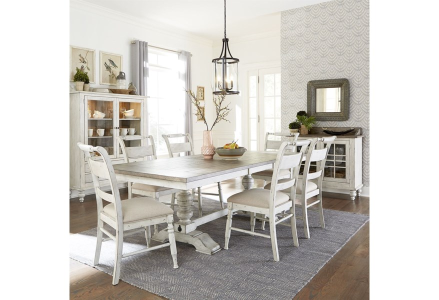 Liberty Furniture Whitney 7 Piece Trestle Dining Room Table Set Zak S Home Dining 7 Or More Piece Sets