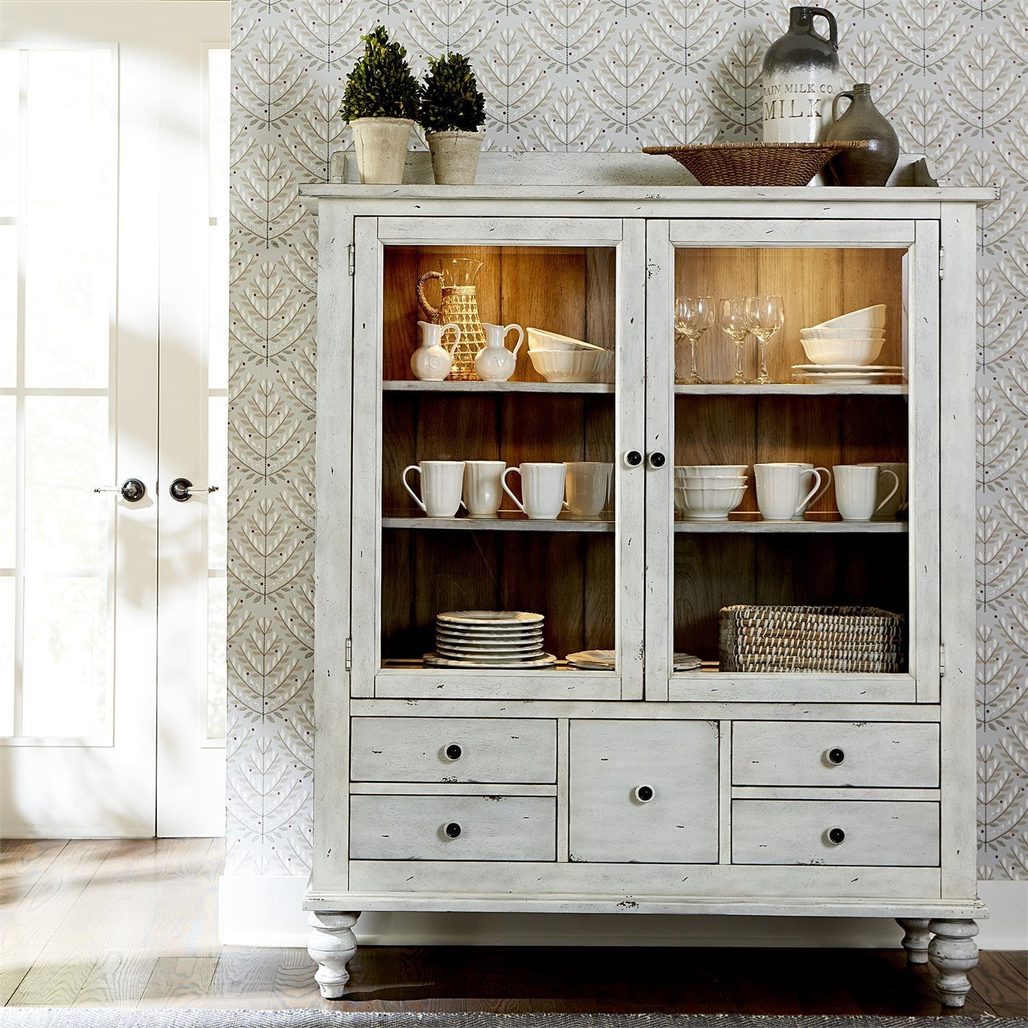 Display Cabinet with 5 Drawers and 3 Shelves