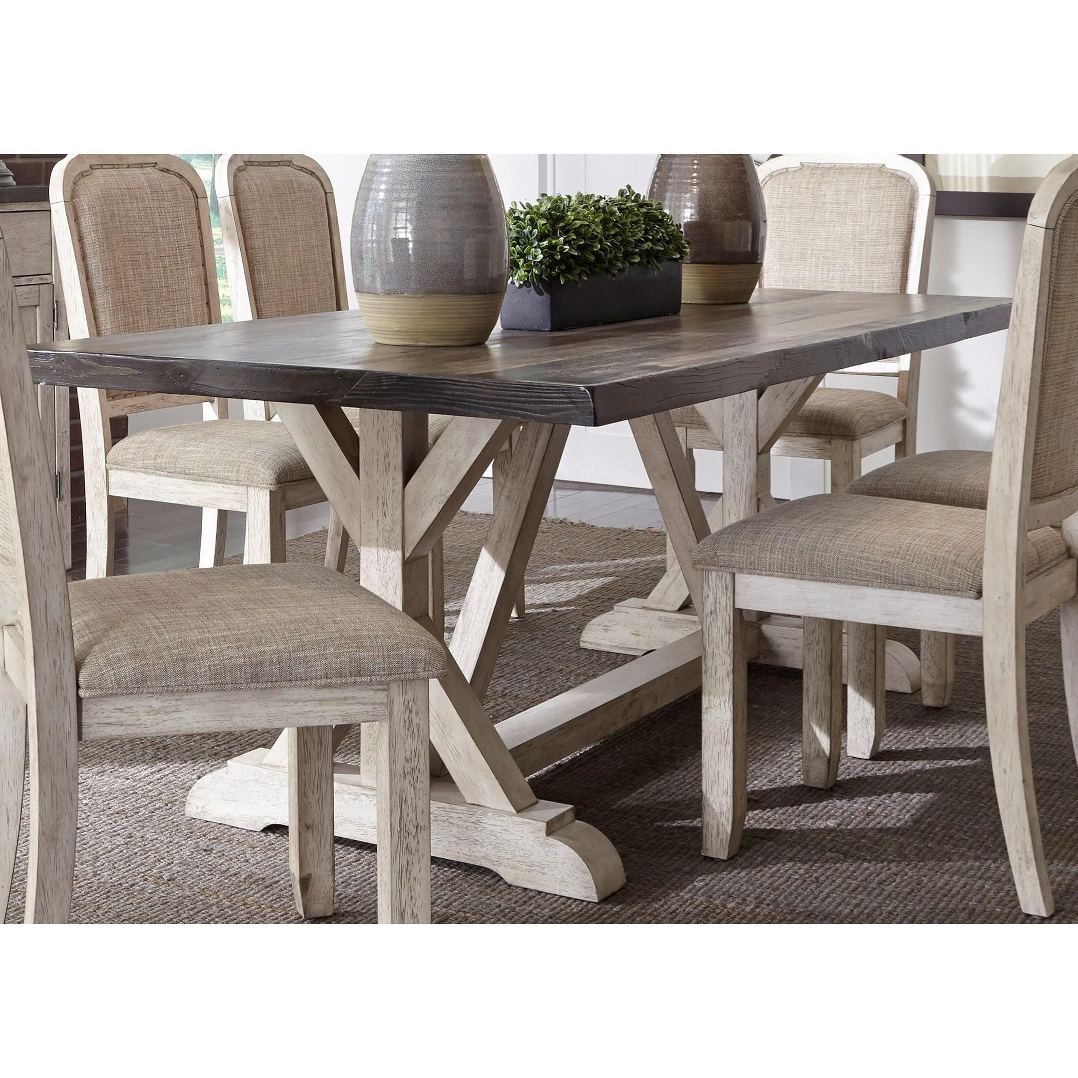 Liberty Furniture Willowrun Relaxed Vintage Trestle Table With X Base