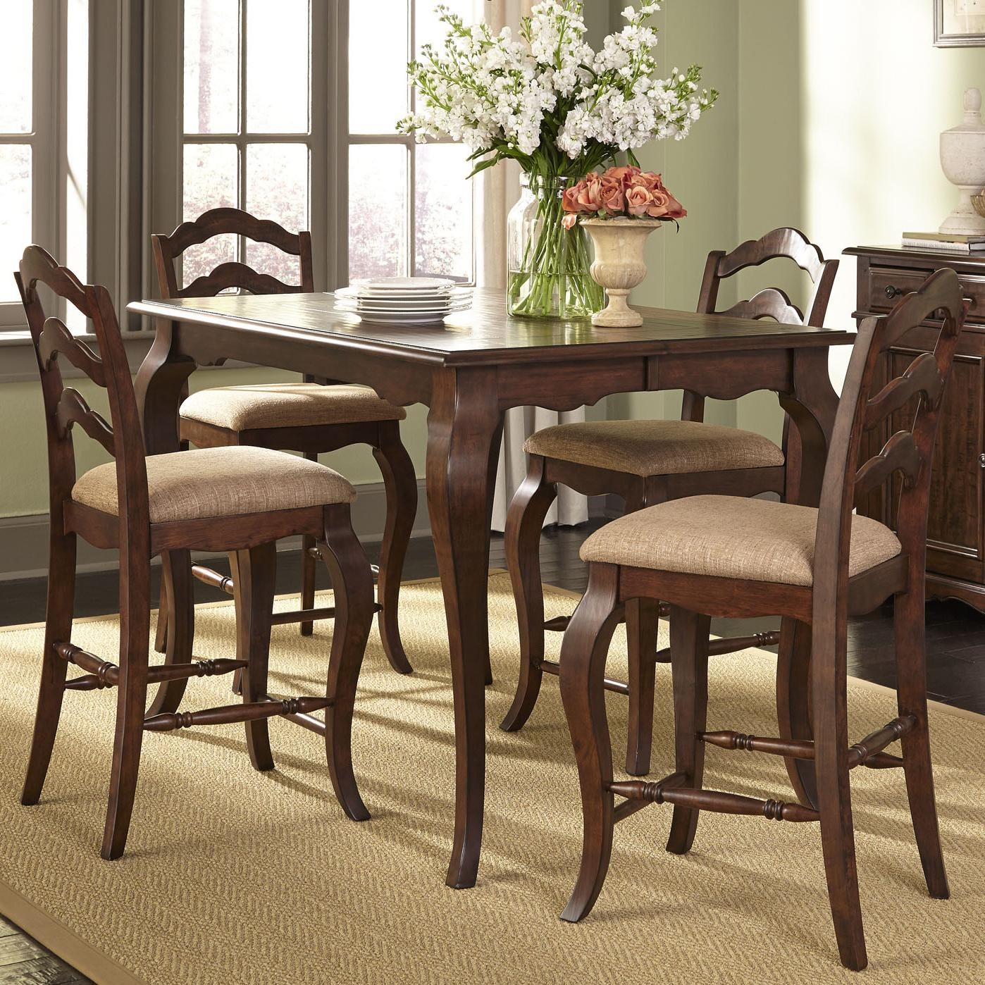 Liberty Furniture Woodland Creek Transitional Gathering Height Table And  Chair Set