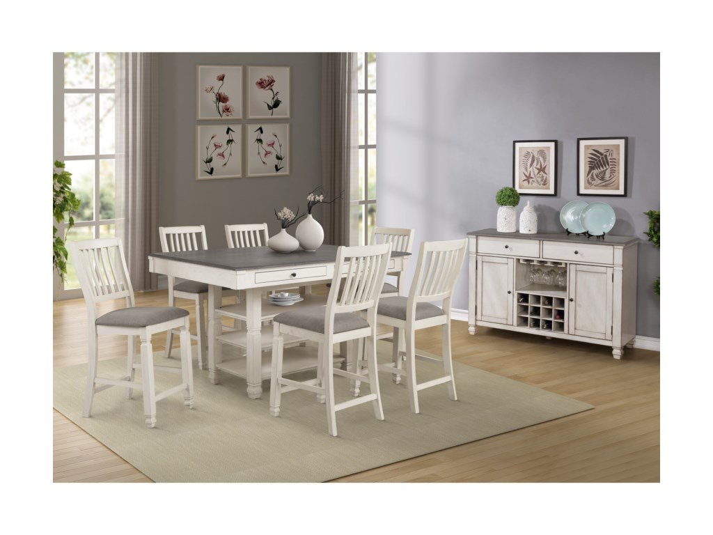 Lifestyle 1735P7-Piece Pub Table and Chair Set
