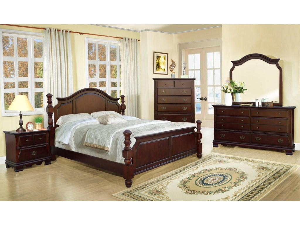 Shown with Bed, Dresser, Mirror, and Night Stand