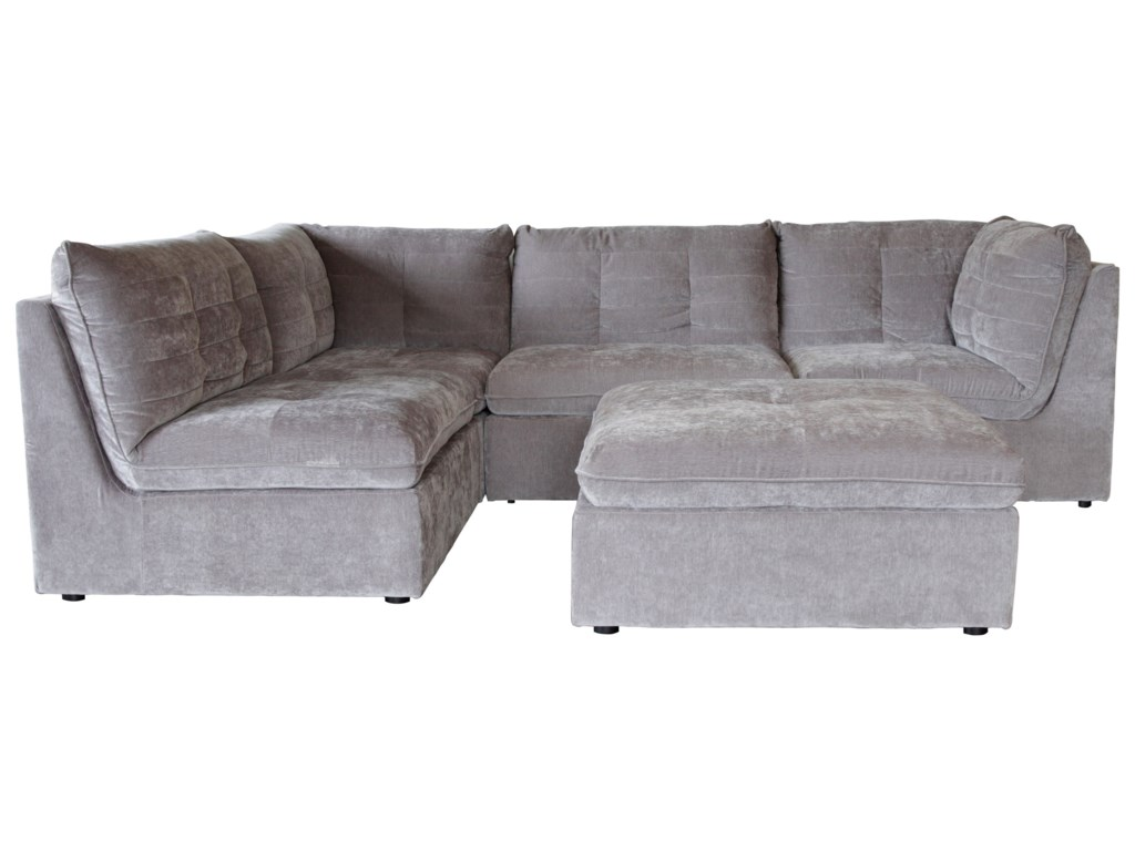 Lydia Modular Channel-Tufted Sectional with Floating Ottoman by Lifestyle  at HomeWorld Furniture