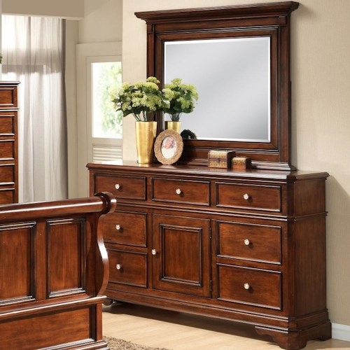 Lifestyle 3185A 7 Drawer Dresser with Landscape Mirror