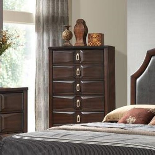 Lifestyle Avery Transitional Five Drawer Chest of Drawers
