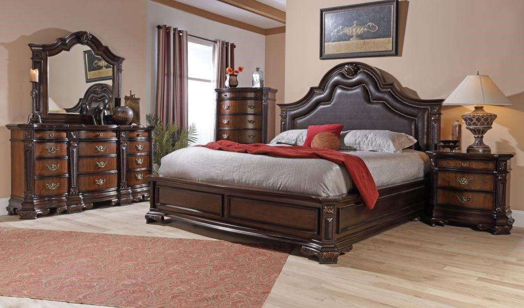 Bed Shown May Not Represent Size Indicated. Lifestyle Jade Queen Faux Leather Upholstered Bed with Nailhead