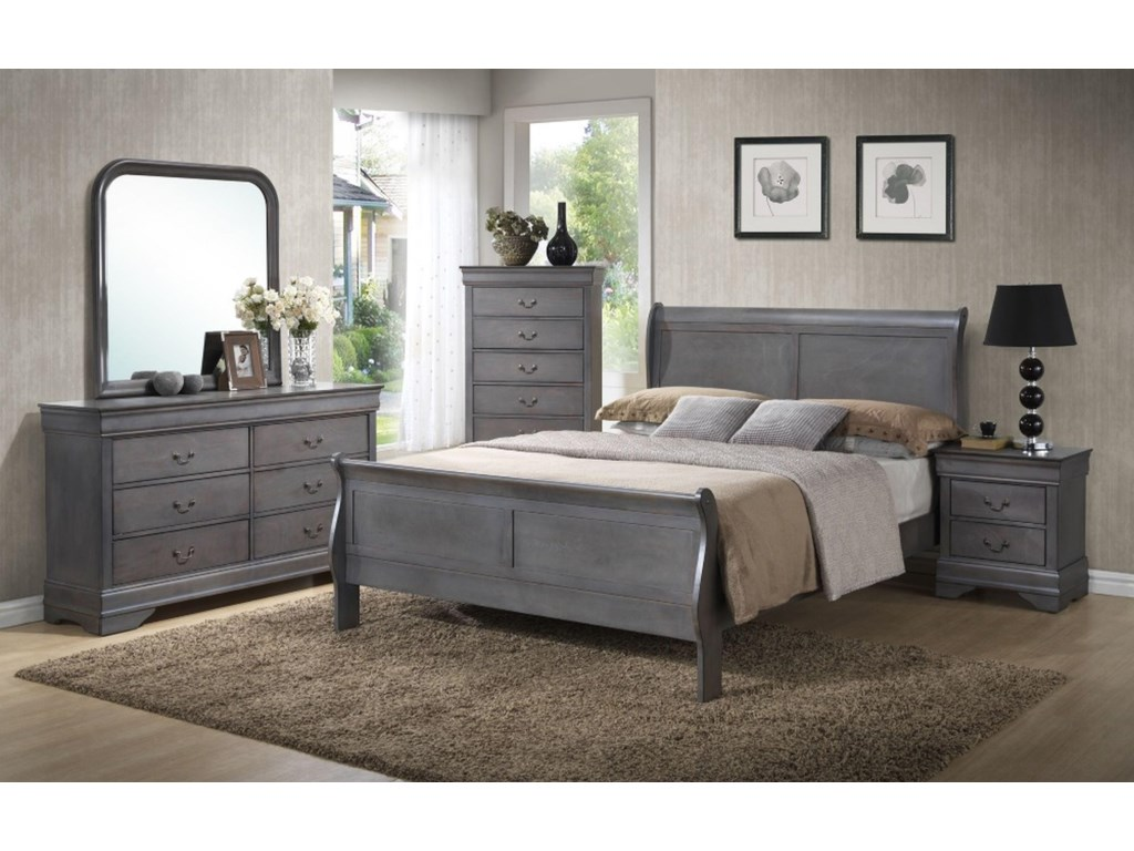 Lifestyle 4934AFull Sleigh Panel Bed