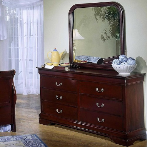 Lifestyle 5933 6 Drawer Dresser & Rounded Square Mirror Combo