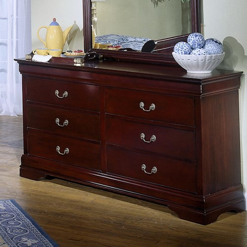Lifestyle 5933 6 Drawer Dresser with Decorative Pulls