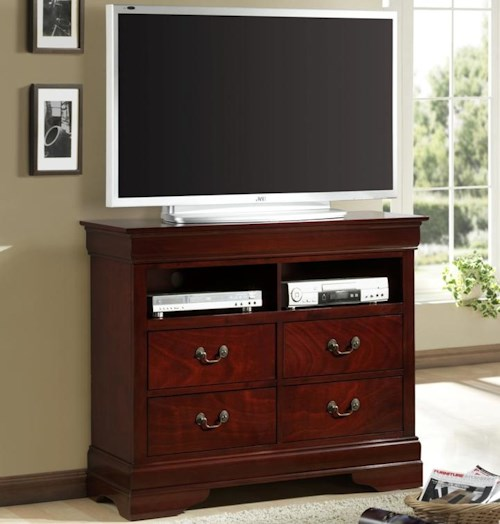 Lifestyle 5933 Plasma Media Chest with 4 Drawers