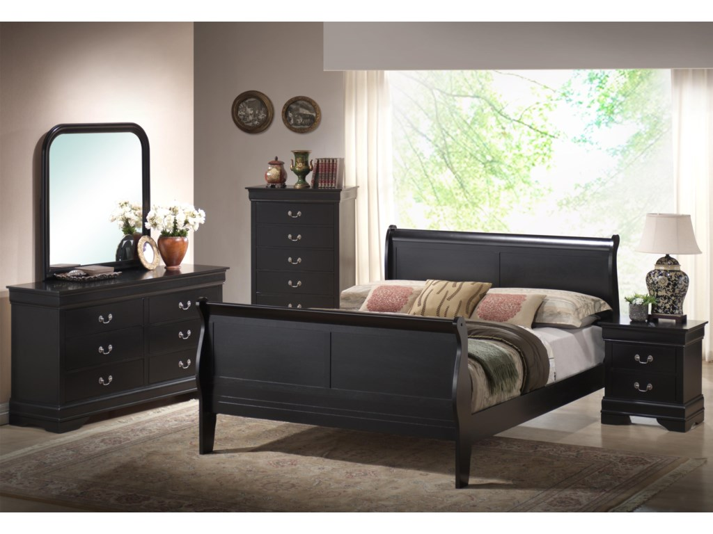 Shown in Room Setting Dresser, Mirror, Chest and Sleigh Bed