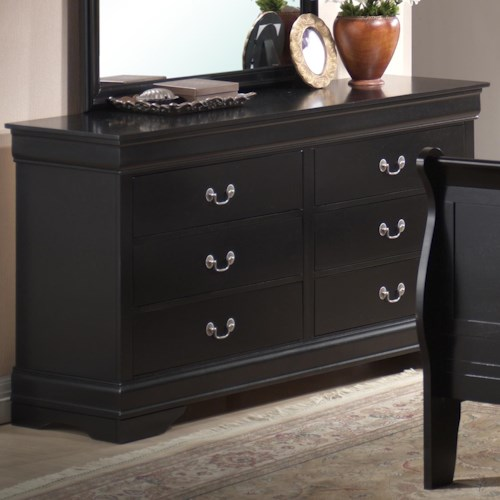 Lifestyle 5934 6 Drawer Dresser with Decorative Pulls