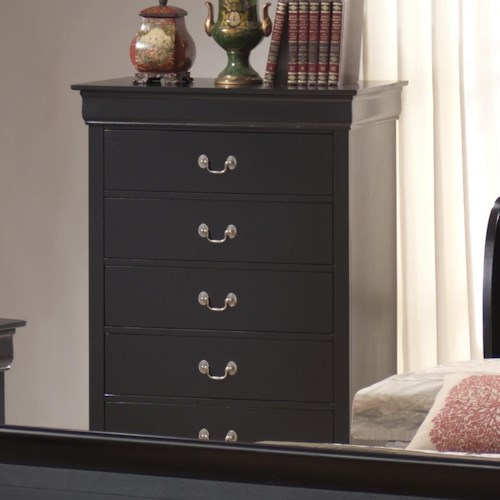Lifestyle 5934 Traditional Louis Phillippe 5 Drawer Chest