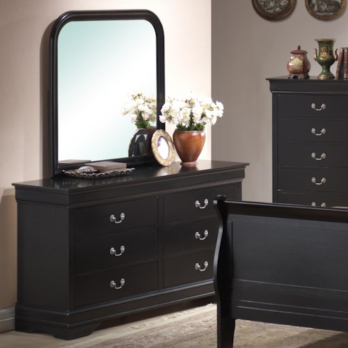 Lifestyle 5934 Traditional Louis Phillippe 6 Drawer Dresser and Mirror