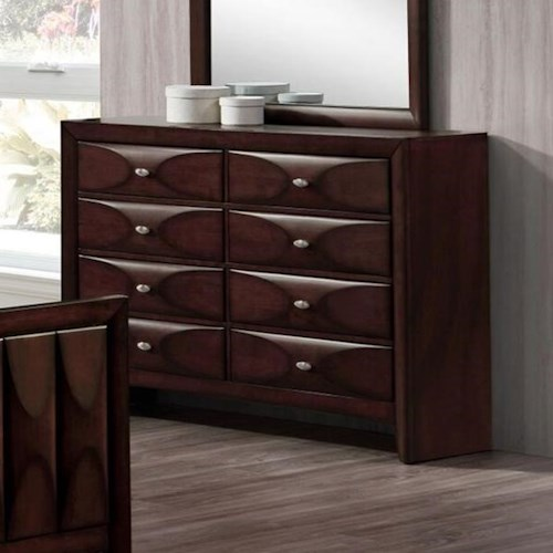 Lifestyle Banfield 8 Drawer Dresser in Dark Brown Finish