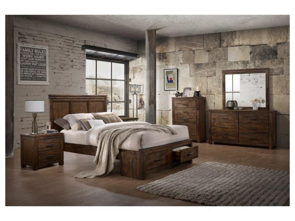 Lifestyle 6377Queen Panel Bed with Storage Package
