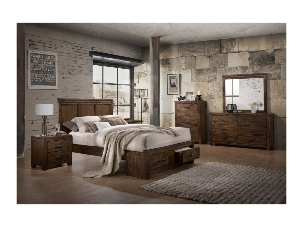 Lifestyle 6377King Panel Storage Bed