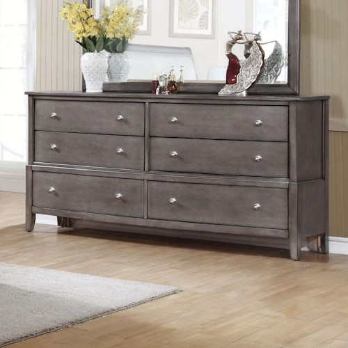 Alex Express Life 7185 6 Drawer Dresser with Small Round Hardware