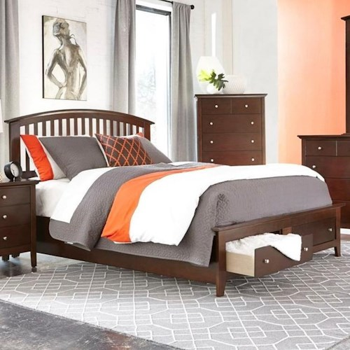 Lifestyle 8237A Queen Storage Bed with 2 Drawer Footboard