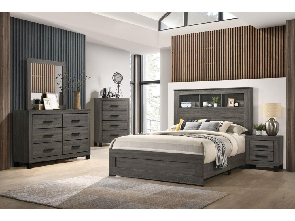 Lifestyle 83216 Piece Queen Bookcase Bedroom Group