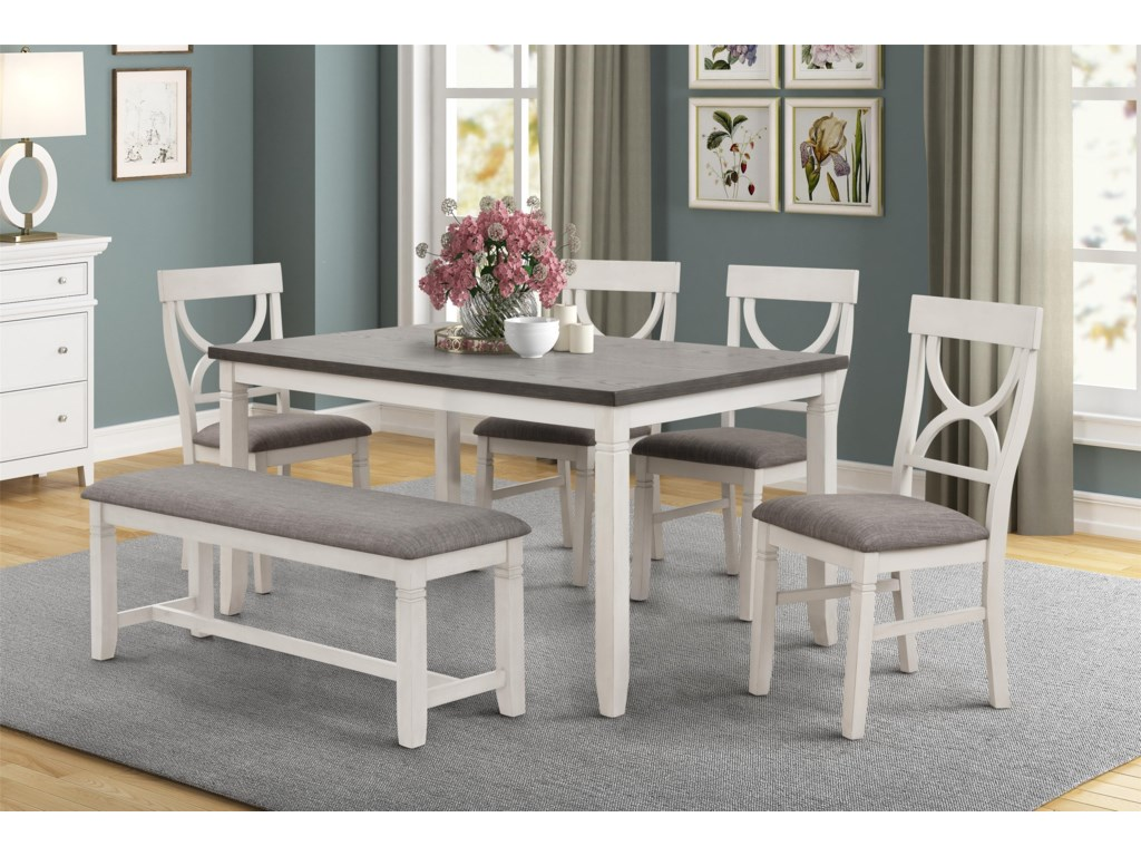 Lifestyle 8615Dining Table, 4 Side Chairs and Bench