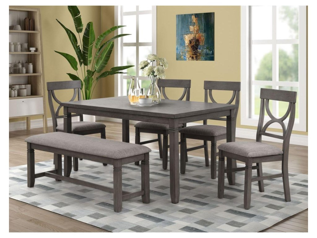 Lifestyle 8618Dining Table, 4 Side Chairs and Bench