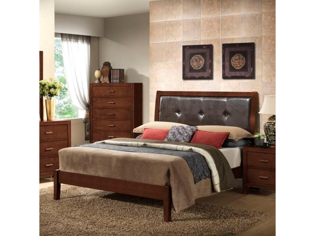 Lifestyle 9182King Leather Panel Bed