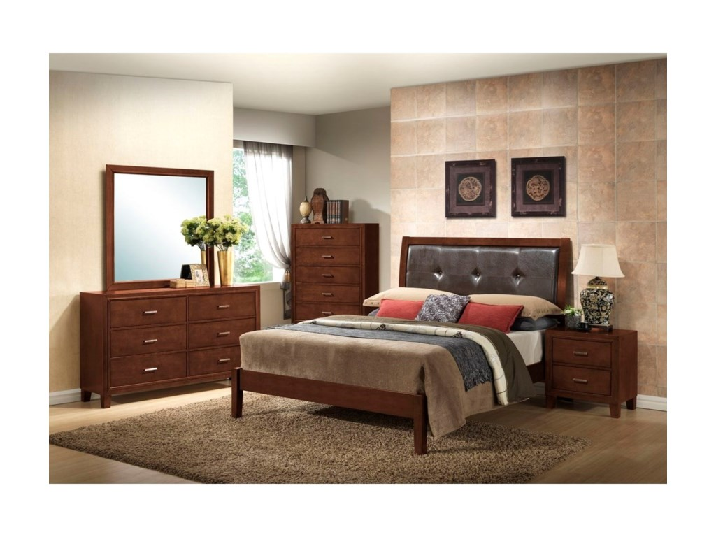 Lifestyle 9182Queen Leather Panel Bed