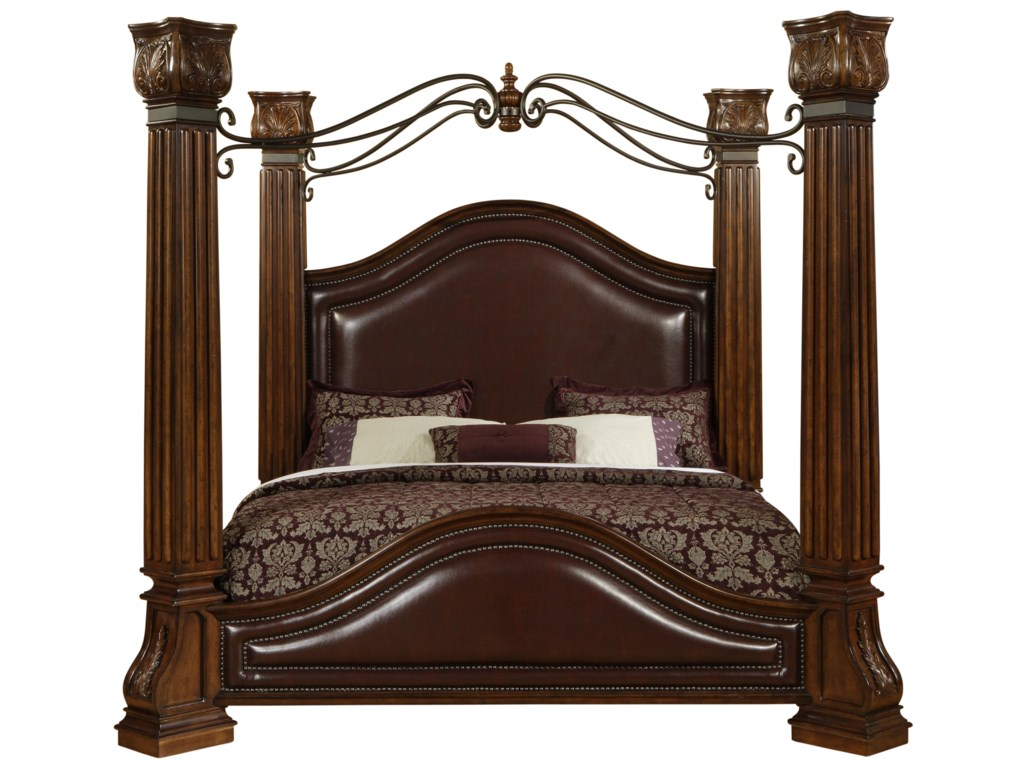 9241 King Canopy Bed With Faux Leather Headboard Wood Posts Metal By Lifestyle At Furniture Fair North Carolina