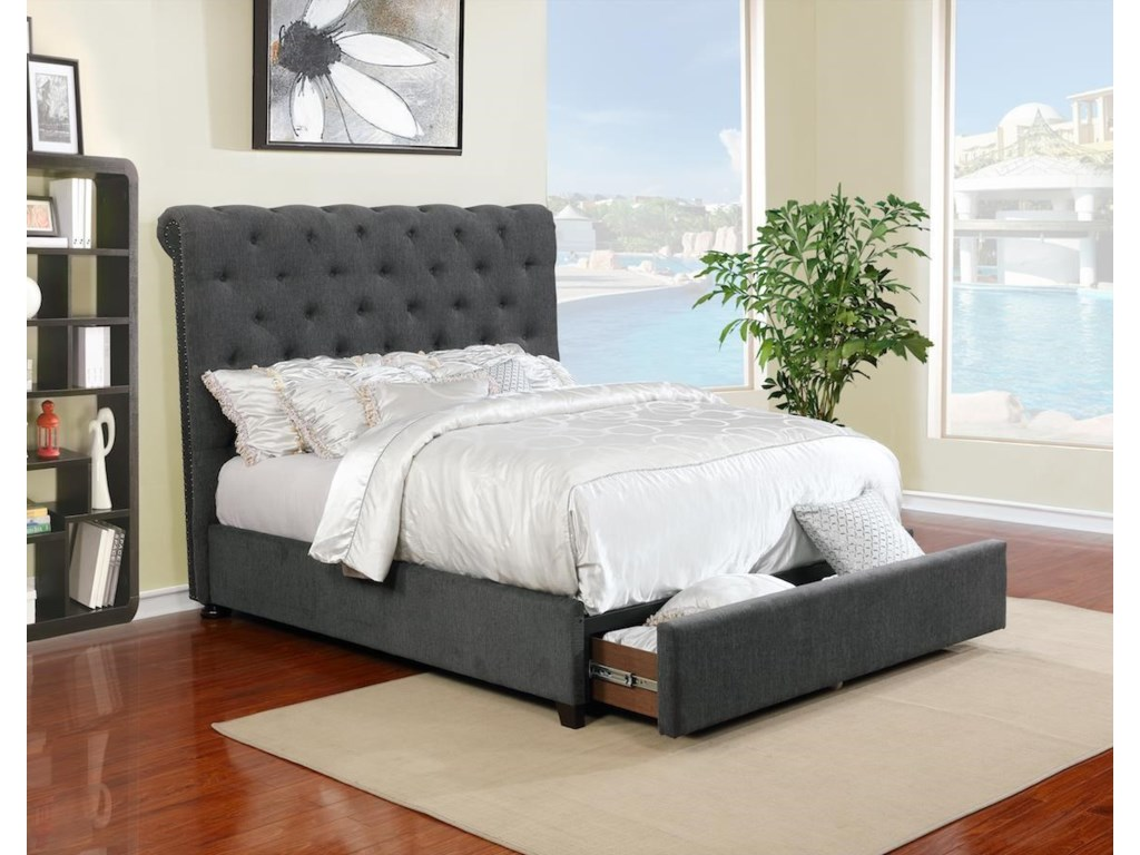 Lifestyle 9361NQueen Upholstered Bed with Underbed Drawer