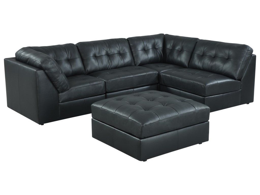 9377 On Tufted Sectional Sofa With Ottoman By Lifestyle