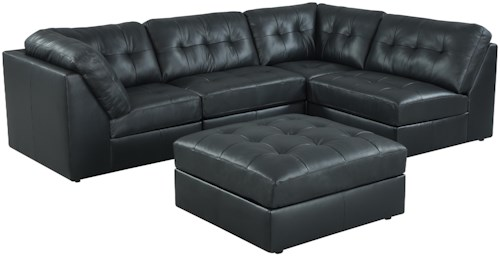 Lifestyle 9377 Button-Tufted Sectional Sofa with Ottoman