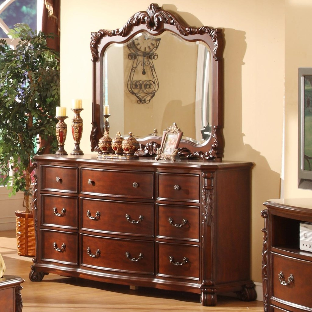 Lifestyle Frenchy Traditional 9 Drawer Dresser And Mirror With Acanthus Leaf De Ing