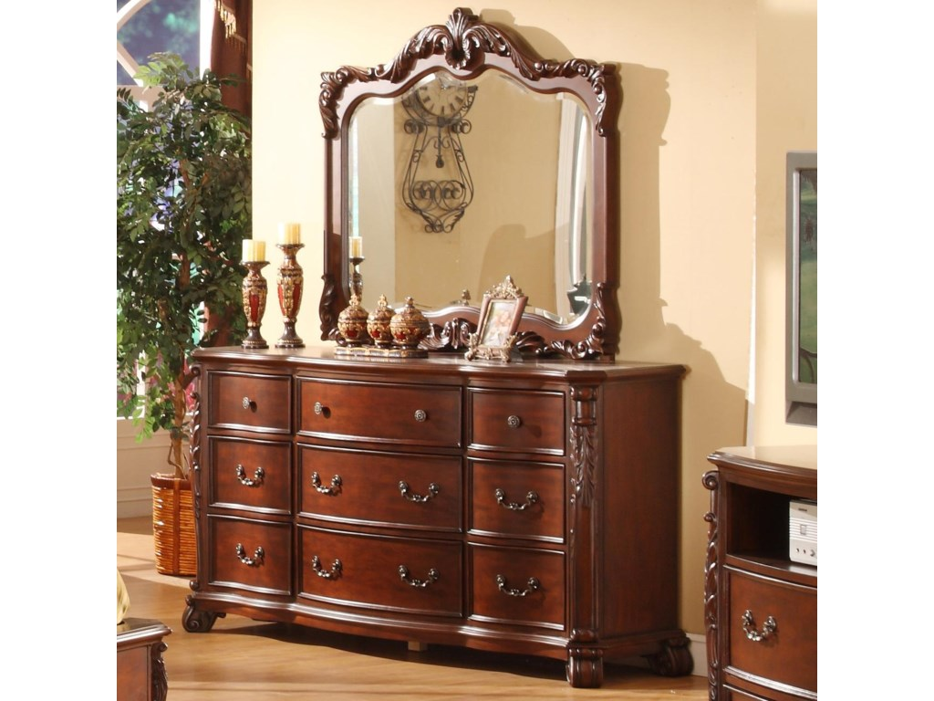 Lifestyle Frenchy Traditional 9 Drawer Dresser And Mirror With