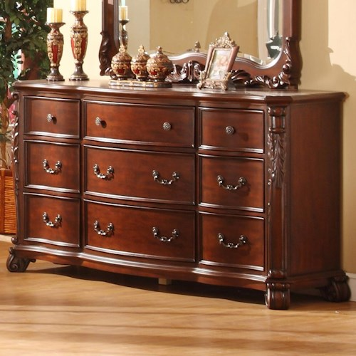 Lifestyle 9642 Traditional 9 Drawer Dresser with Acanthus Leaf Detailing