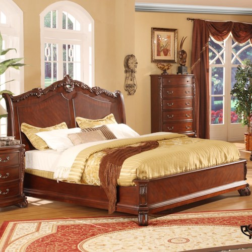 Lifestyle 9642 Traditional Queen Panel Bed with Acanthus Leaf Headboard