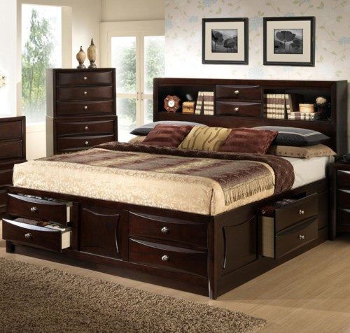 Contemporary Lifestyle C0172 Full Storage Bed w Bookcase Headboard Lovely - Awesome bed frame with headboard storage Photo