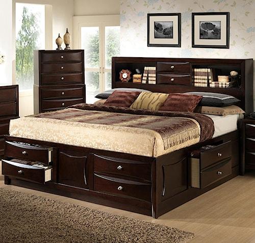 Lifestyle C0172 Queen Storage Bed W Bookcase Headboard