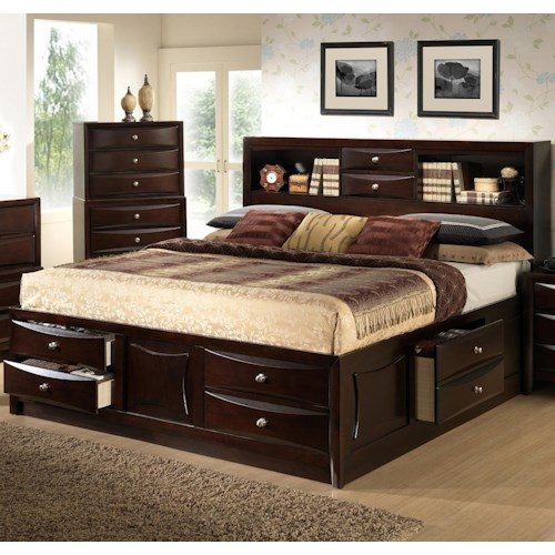 Alex Express Life C0172 Queen Storage Bed W Bookcase Headboard