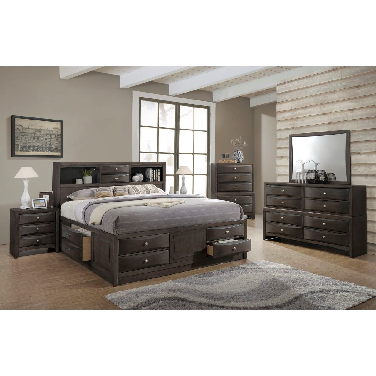 Image of: Lifestyle Todd Gray Queen Storage Bed W Bookcase Headboard Royal Furniture Bookcase Beds