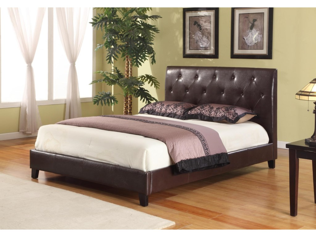 Lifestyle C1021AFull Upholstered Faux Leather Tufted Bed
