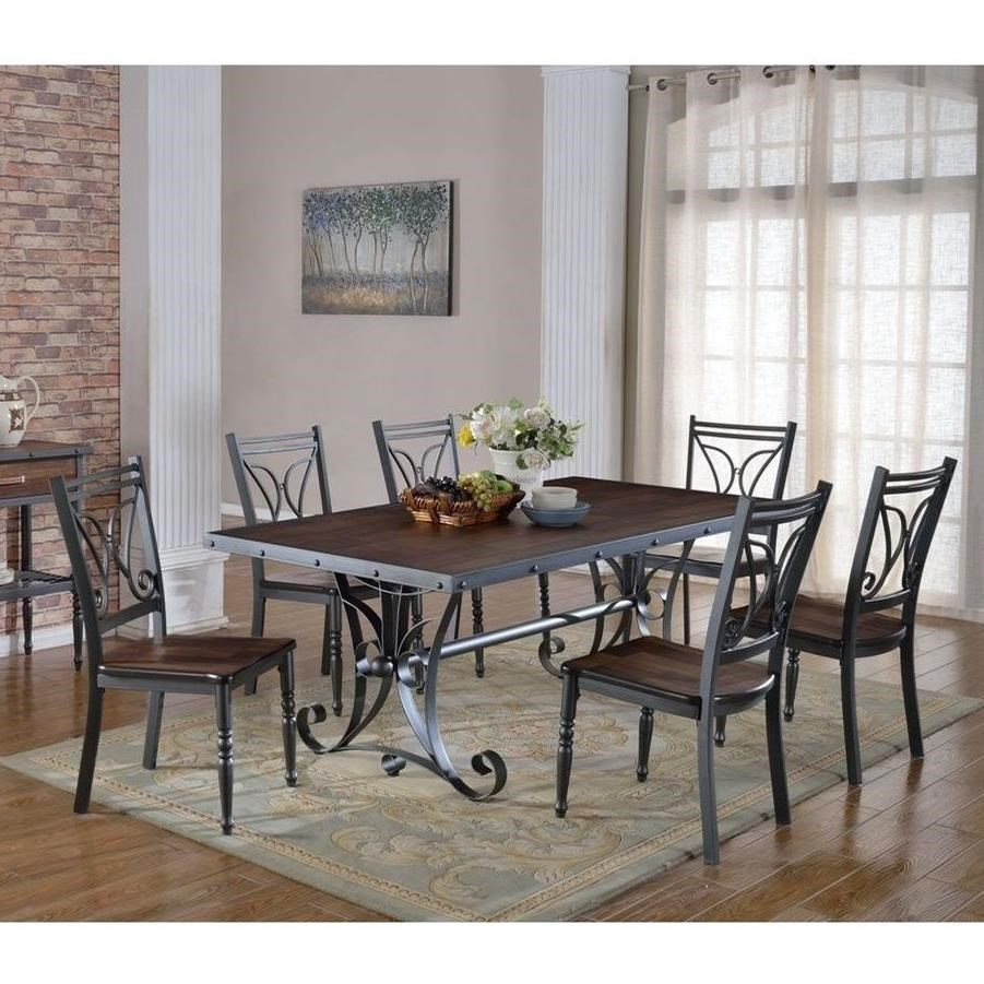 industrial dining room table and chairs. Lifestyle C1669Dining Room Table Set Industrial Dining And Chairs B