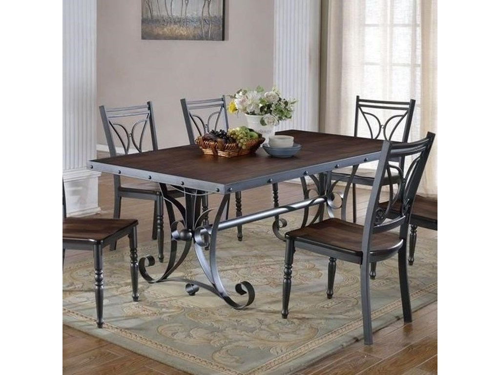 Lifestyle liles dining room table with scroll metal base