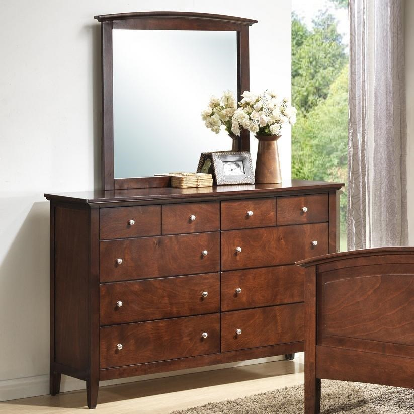 Lifestyle Whiskey Transitional Eight Drawer Dresser And Vertical Mirror Set