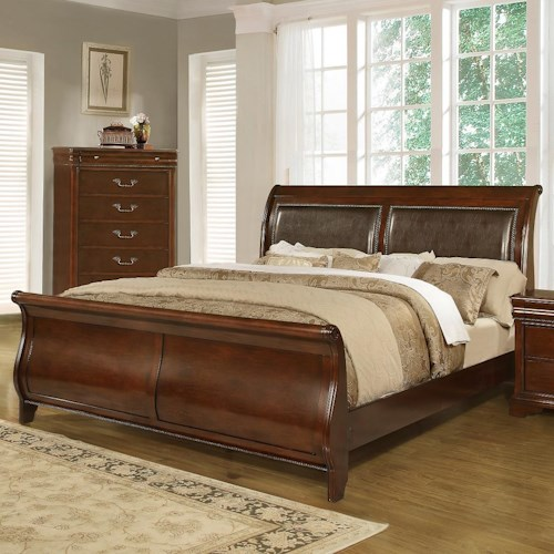 lifestyle c4116a traditional queen sleigh bed - Queen Sleigh Bed Frame