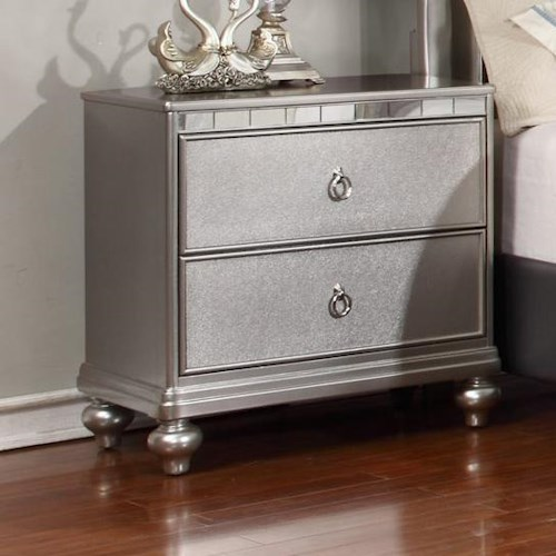 Lifestyle Glam Metallic Finished Night Stand with Full Extension Drawer Glides
