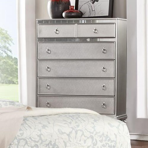 Lifestyle Glam Metallic Finished Chest of Drawers with Full Extension Drawer Glides
