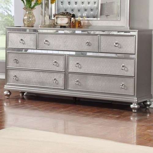 Lifestyle Glam Metallic Finished Dresser with Full Extension Drawer Glides