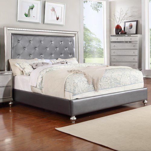 Glam King Upholstered Panel Bed With Rhinestone Accent