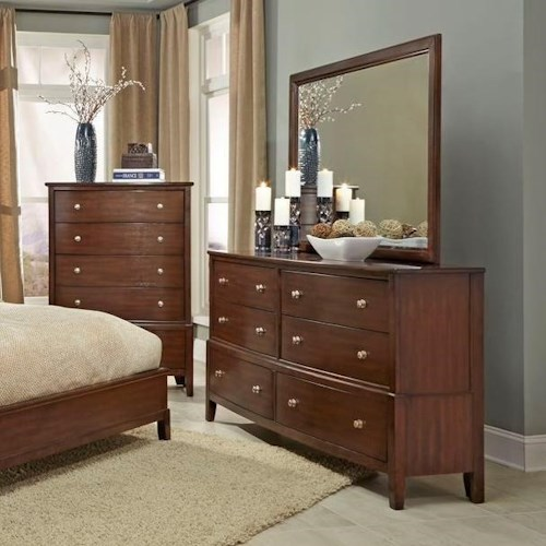 Lifestyle C7189 6 Drawer Dresser and Mirror with Wood Frame
